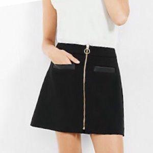 Express black mini skirt gold zipper a-line 0